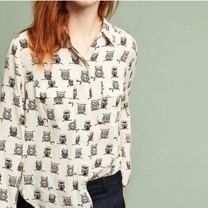 ANTHROPOLOGIE PORRIDGE Owl Button Down Shirt Sz M